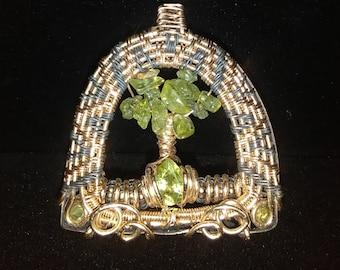 14k gold fill Peridot Tree of Life Pendant