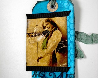 Shipping Tag Art, Handmade western, Woman with Fiddle Tag, Mixed Media Tag, Altered Country Tag