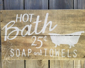 Bathroom Sign - Rustic Sign - Wall Decor - Bathroom Decor - Family Sign - Home Sign - Laundry Room Sign - Soap - Towels - Reclaimed Wood
