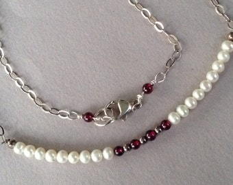 Minimalist Pearl and Garnet Silver Chain Necklace