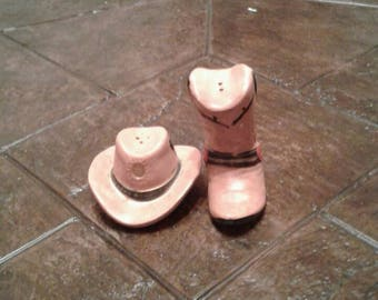 Vintage Cowboy hat and boot salt and pepper shaker