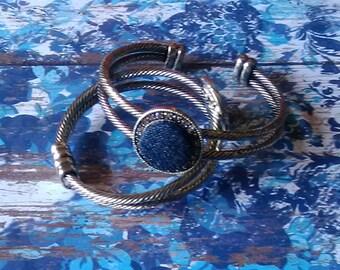 Denim Antique Silver Rhinestone Cuff Bracelet