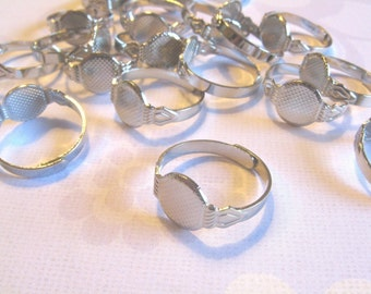 50 Adjustable Ring Blanks - 10mm pad - silver tone diy jewelry finding supplies