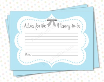 Baby shower advice cards Blue (INSTANT DOWNLOAD) - Advice for mommy to be - Advice for the new mommy - Printable advice cards BA003