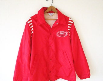 Vintage 80's MILLER High Life BEER Red Striped MVP Athletic Windbreaker Snap Front Bomber Jacket Sz L