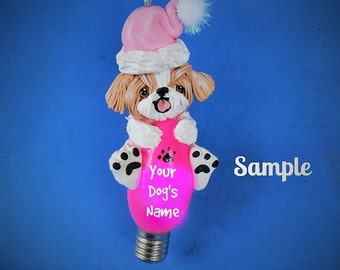 Tan and White Shih Tzu Santa Dog Christmas Holidays Light Bulb Ornament Sally's Bits of Clay OOAK PERSONALIZED FREE