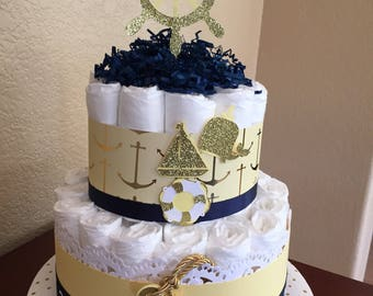 Navy/Gold/Yellow and White Nautical Diaper Cake/Boy or Girl Nautical Centerpiece/Mother To Be gift/Baby Diaper Cake/Rasberry and Blue Girl N