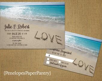 Romantic Beach Wedding Invitation,Love in the Sand,Sandy Beach,Destination Wedding,Hawaii Wedding,Tropical,Printed Invitation,Wedding Set