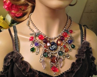 Vintage Multi-Strand Colorful Glass and Lucite Bib Statement Necklace- Festive!