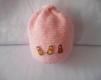handmade knit baby hat, pink, 6/8 months