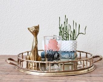 Brass Tray - Brass Coffee Table Tray - Coffee Table Tray - Coffee Table Decor - Brass Decor - Tray Decor - Vintage Brass Tray - Brass Round