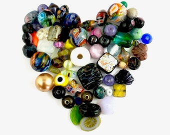 75mixed glass beads mix color 4mm to 18mm #PV083-1