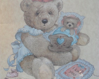 """Vintage """"I Love You"""" Lithograph of Teddy Bear Rocking a Babby Doll-Giordano"""