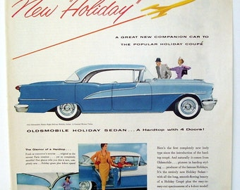 Oldsmobile Holiday Sedan Original Magazine Page Ad, 1955 Vehicle car Ad, Paper Car Ad, Classic Oldsmobile Ad, Car Print Ad, Man Cave
