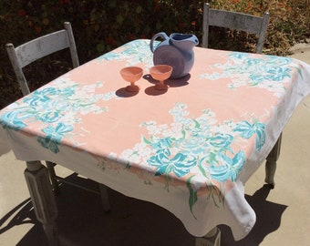Vintage Tablecloth Aqua & Peach Lilies Roses Bouquet Floral Retro Kitchen Botanical