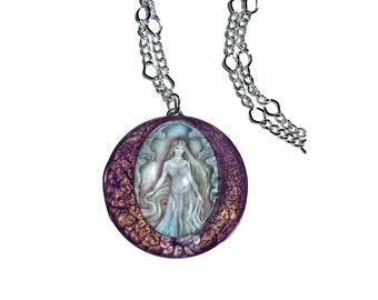 Dragon Queen - Huge purple pendant, fantasy jewellery huge hand-made pendant purple magic fantasy necklace