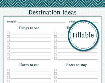 Travel Planner: Destination Ideas - Fillable - Instant Download - Printable PDF  - Vacation Planner