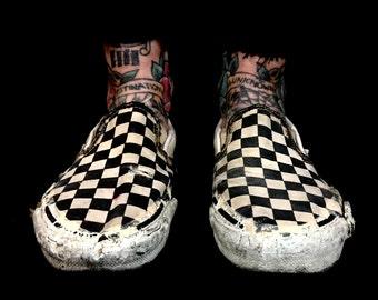 1990s Thrashed Vans Slip Ons USA