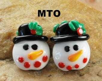 Glass Lampwork Beads,  Made To Order, Snowman, Christmas, Earring Beads  SRA #574 by CC Design