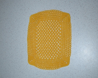 Crochet handmade doily 21 x 16 yellow gold, rectangle, made with fine cotton