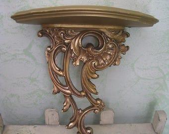 syroco wood wall shelf old world ornate gold syroco plate shelf hollywood regency mid century frnch apartment