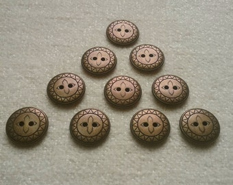 10 metal buttons bronze copper effect 18mm 2-hole buttons