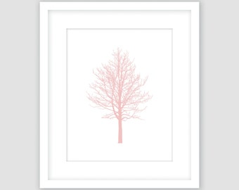 Chestnut Tree, Rose Pink & White Print, Winter Wall Art, Botanical Silhouette, Modern Art, Instant Download, DIY, Printable