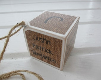 Burlap - Baby's First Christmas Ornament