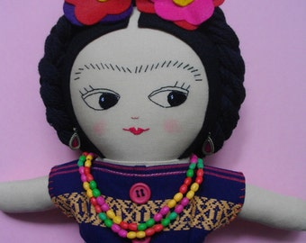 Handmade ragdoll Ooak Art Doll Mexican cloth doll - Made to Order