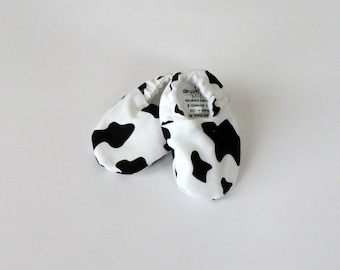 Cow Print Crib Shoes - Newborn 0-3 mo Size 1 - Unisex