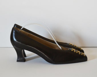 Vintage High Heel Shoes Dress Shoes Pointed Toe Shoes Burgundy Dress Shoes with Gold Chains Size 6 N