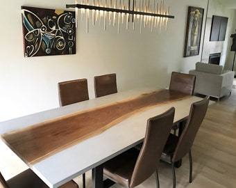Concrete Dining Table With Live Edge Slab