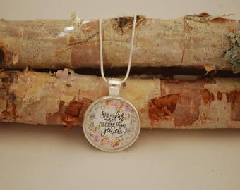 She is far more precious than jewels, Small Silver Pendant Necklace