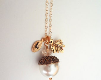 Acorn Necklace - Personalized - Hand stamped - initial - Oak Leaf - Gold filled - Gift - Fall jewelry -