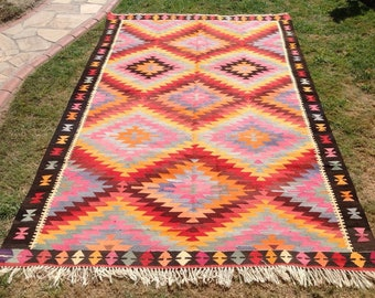 "Diamond design Kilim rug, 118"" x 76"", Vintage Turkish rug, rugs, bright colored area rug, vintage rug, bohemian rug, eccentric rug, rugs,"