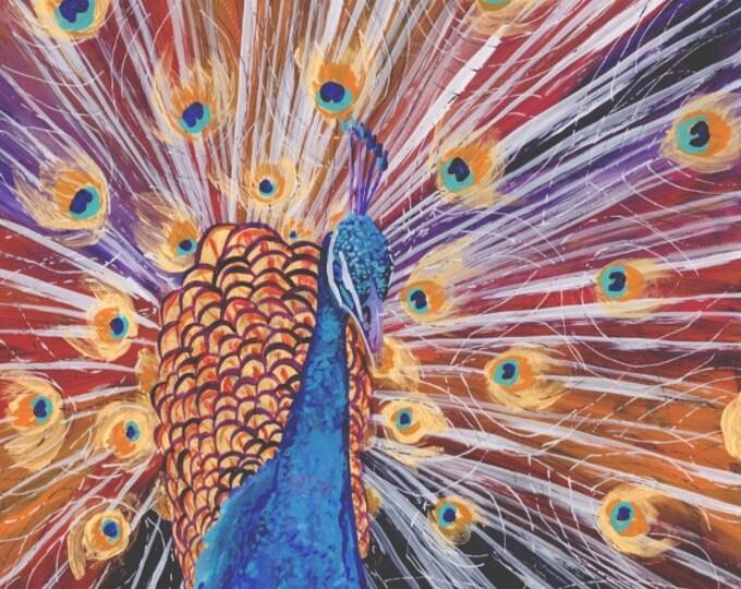 Peacock Original Painting - Reverse Acrylic Painting - Purple Peacock - Kids Wall Art - Whimsical Art - Animal Painting - artwork for kids