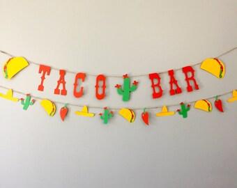 Taco bar banner, taco banner, taco decor, fiesta banner, fiesta party, taco party, cactus party, cactus banner, cactus garland cinco de mayo
