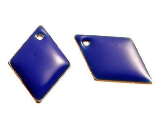 Set of 2 blue Argyle copper enameled 16 mm x 11 mm sequins