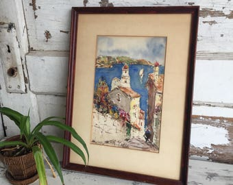 Vintage Watercolor Painting - European Seascape - T. H Papin - Colorful 1950s