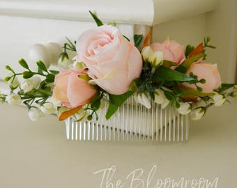 Light pink comb, Pink, White, Green, Pink flower comb,  Photo shoot, Wedding flower comb,  Gift for friend, Flower girl hair comb