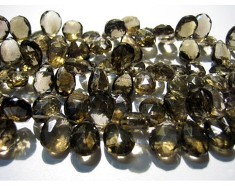 Smoky Quartz Briolette Beads, Faceted Gemstones, Pear Beads - 10x15mm To 9x12mm Each - Half Strand 4 Inches - 25 Pieces Approx