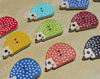"Wood Hedgehog Buttons - Wooden Painted Hedge Hog Button - Bulk Sewing Buttons - 1"" Wide - Assortment"