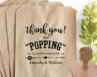 THANK YOU Popcorn Bag Favor Rubber Stamp ONLY – 3x3 in  –Personalized Wedding Paper Goods