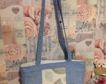 Shoulder bag - carry all bag- carpet bag- blue and cream - patchwork bag- gift for her - handicraft bag