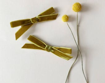 Velvet Pigtail Bows, In the Color Mustard, giddyupandgrow
