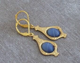 Blue and Gold Art Nouveau Earrings  .. drop earrings, star, gold earrings, jewellery, cornflower blue, periwinkle