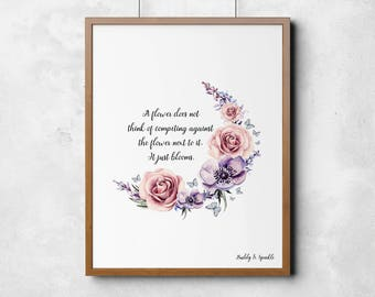A4 Flower quote - wall art - be yourself - bedroom - pink - rose - quote - life - gift - friend - printable - wedding