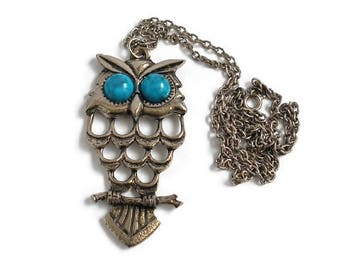 Southwestern Large Silver OWL Pendant Necklace With (Faux) Turquoise Bead Eyes Native American Style Vintage Costume Jewelry