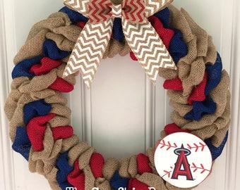 Los Angeles Angels burlap wreath - Los Angeles Angels wreath - Angels wreath - LA Angels decor - Baseball wreath - LA Angels wreath