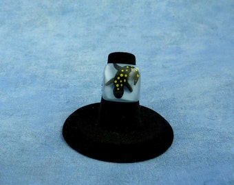 Encapsulated Spotted Salamander Specimen ring, Handmade Biology Jewelry